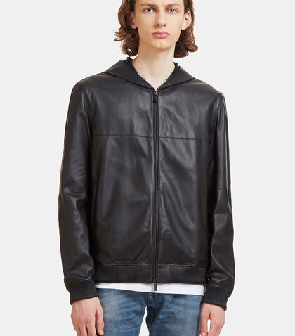 Hooded Leather Jacket by Fendi
