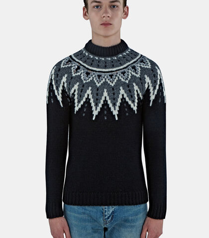 Fair Isle Sequin Knitted Sweater by Saint Laurent