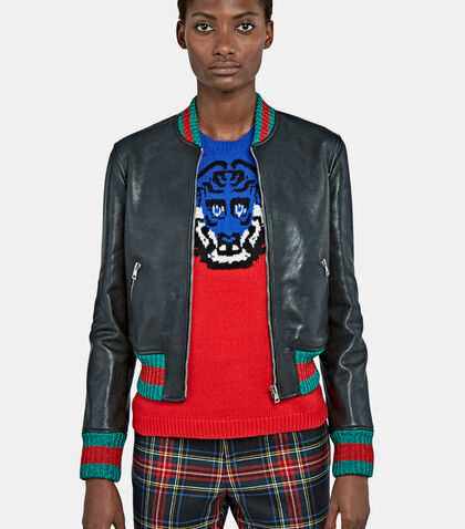 Metallic Stripe-Trimmed Leather Bomber Jacket by Gucci