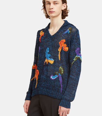 Bird Embroidered Hooded Knit Sweater by Missoni