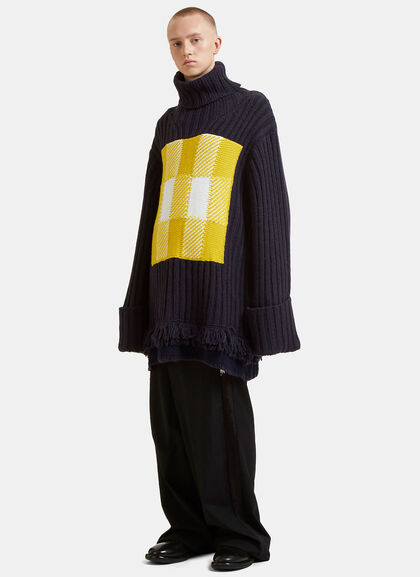 Buy Checked Roll Neck Fringed Knit Sweater by J.W. Anderson men clothes online