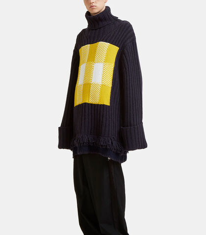 Checked Roll Neck Fringed Knit Sweater by J.W. Anderson