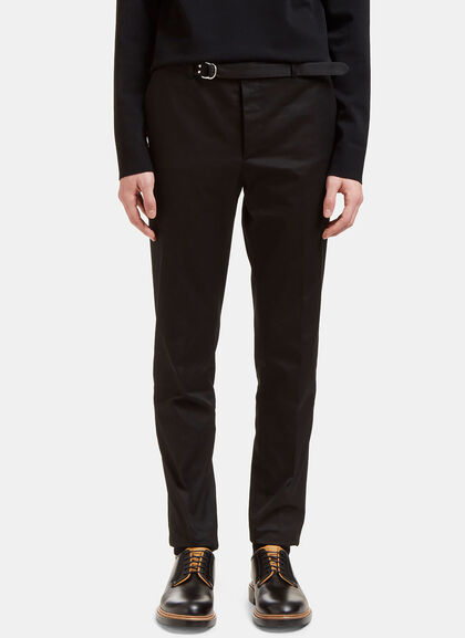 Buy Belted Slim Leg Technical Twill Pants by Valentino men clothes online