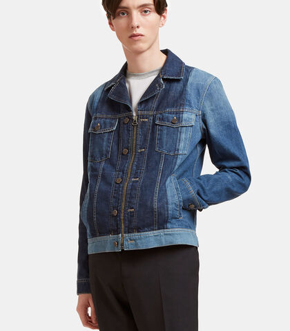 Two-Tone Zip-Up Denim Jacket by Lanvin