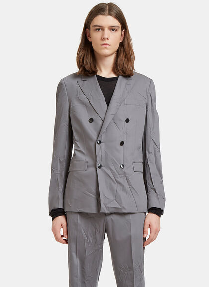 Buy Creased Double-Breasted Blazer Jacket by Valentino men clothes online