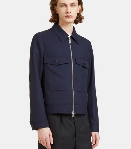 Twill Patch Pocket Zip-Up Jacket by Ami