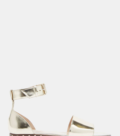Studded Metallic Open Toe Sandals by Valentino