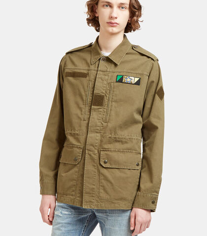 Glittered Shark Embroidered Military Jacket by Saint Laurent