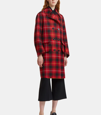 Embroidered Tartan Wool Coat by Gucci