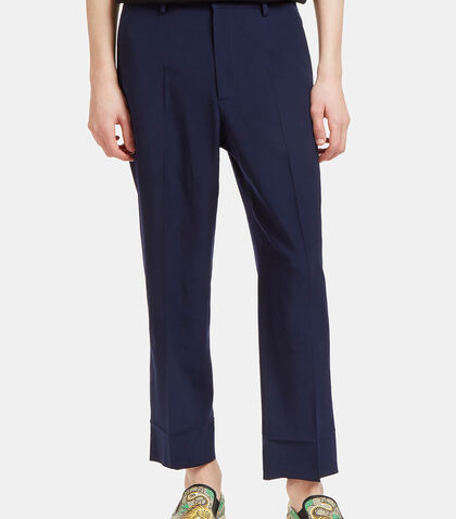 Straight Leg Cropped Wool Pants by Gucci