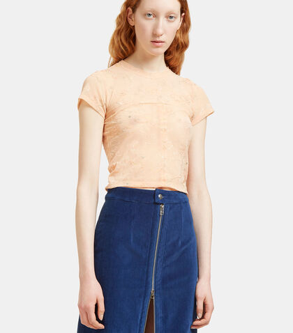 Lapped Floral Embroidered Sheer Cropped T-Shirt by Eckhaus Latta