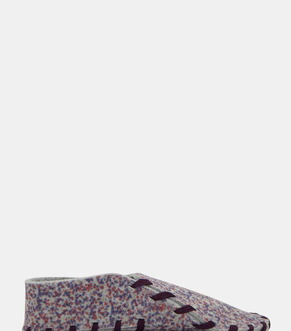 Flecked Stain Print Felted Lace-Up Slippers by Lasso