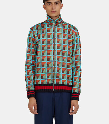 Geometric Print Teddy Bomber Jacket by Gucci