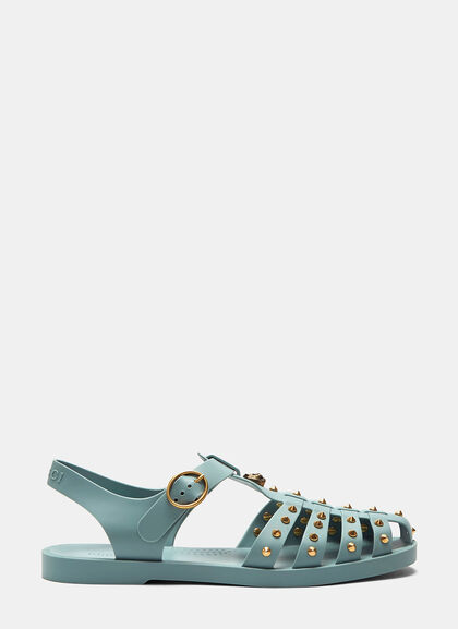 Buy Tiger Head Studded Rubber Buckle Sandals by Gucci men clothes online