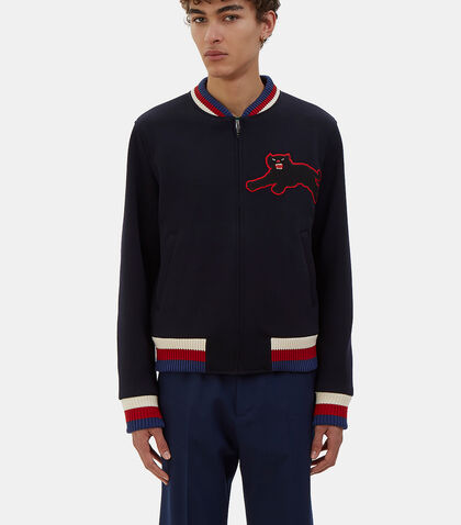 Embroidered Panther Patch Bomber Jacket by Gucci