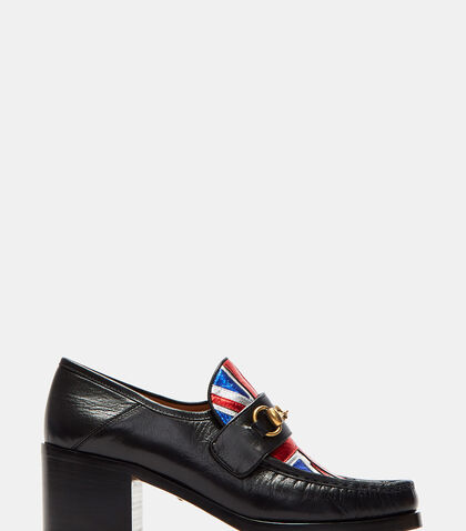 Mid Heel Union Jack Moccasin Shoes by Gucci