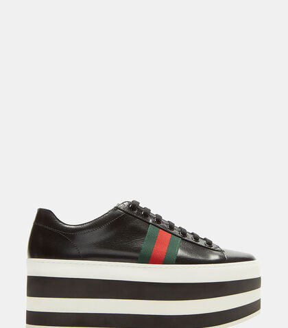 Striped Platform Leather Sneakers by Gucci