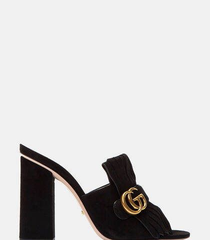 Suede Fringed Heeled Mules by Gucci