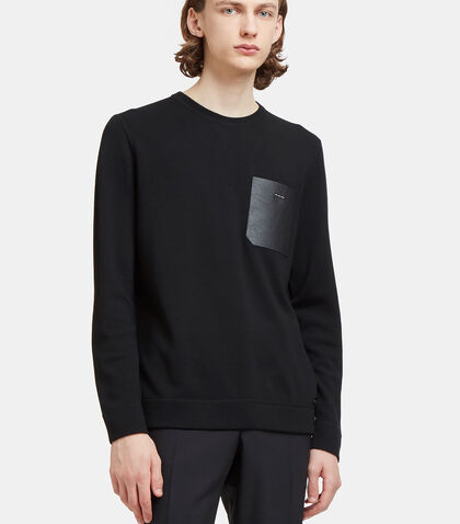 Leather Patch Pocket Knit Sweater by Fendi