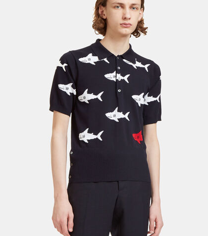 Shark Intarsia Knit Polo Shirt by Thom Browne