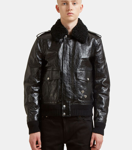Shearling Heart Pinned Leather Bomber Jacket by Saint Laurent