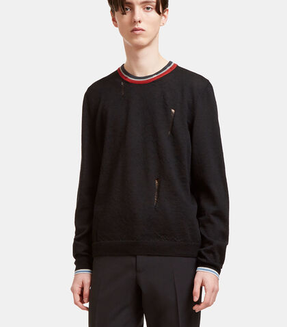 Destroyed Striped Crew Neck Sweater by Lanvin
