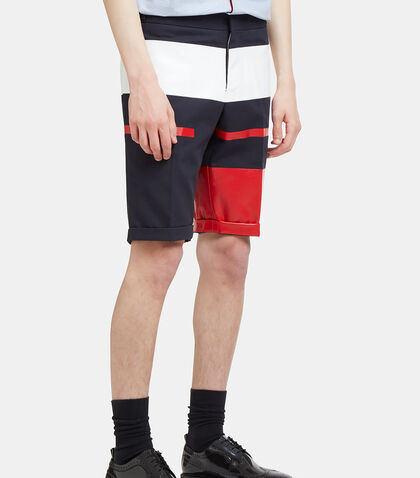 Painted Canvas Striped Shorts by Thom Browne