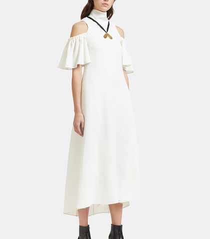 Deity Long Ruched Cut-Out Shoulder Dress by Ellery