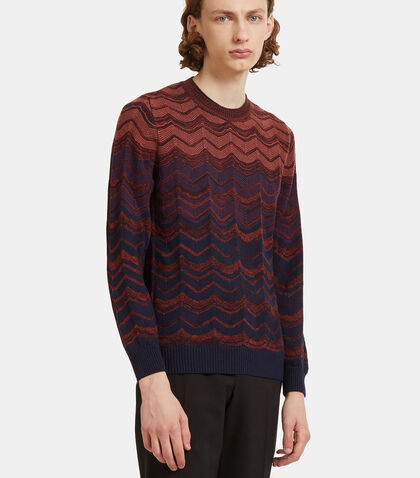 Zigzag Intarsia Knit Crew Neck Sweater by Missoni