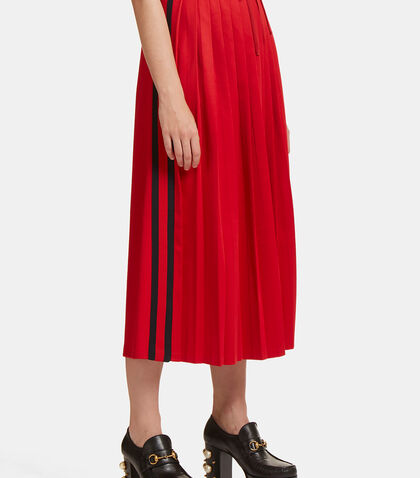 Pleated Striped Web Jersey Skirt by Gucci