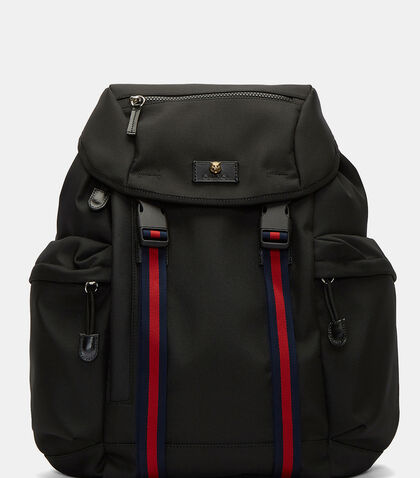 Techno Striped Webbing Strapped Backpack by Gucci