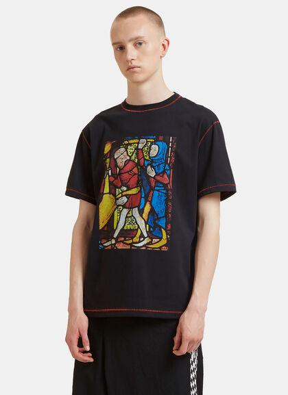 Buy Stained Glass Window Print T-Shirt by J.W. Anderson men clothes online