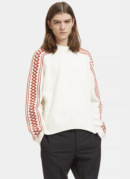 Buy Patterned Knit Crew Neck Sweater by Stella McCartney men clothes online