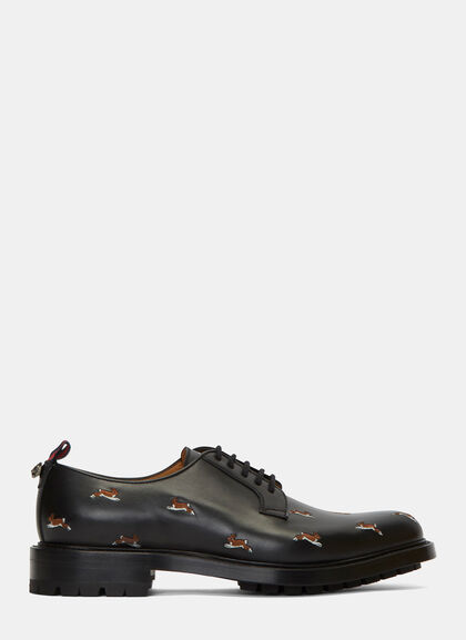 Buy Hare Embroidered Leather Derby Shoes by Gucci men clothes online