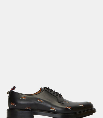Hare Embroidered Leather Derby Shoes by Gucci