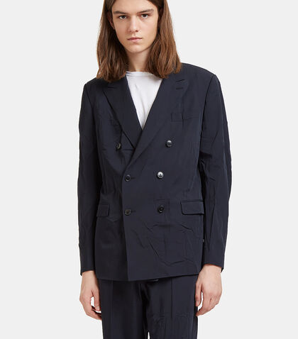 Creased Double-Breasted Blazer Jacket by Valentino