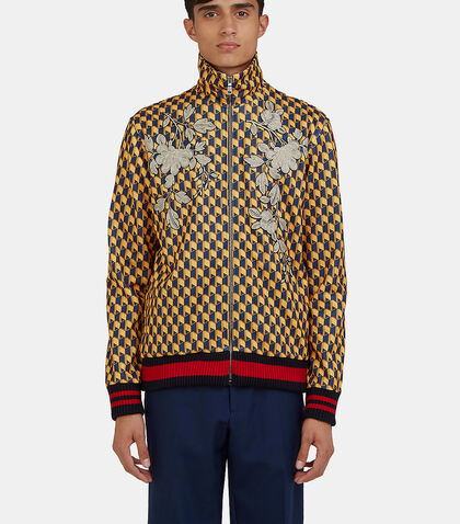 Embroidered Geometric Print Teddy Bomber Jacket by Gucci