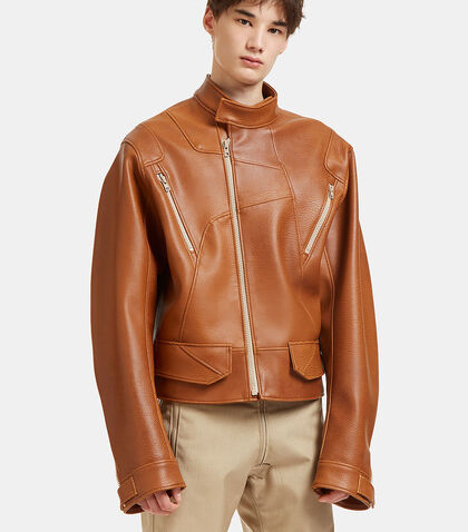 Oversized Faux Leather Biker Jacket by GmbH