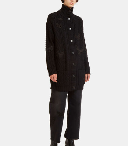 Butterfly Embroidered Oversized Knit Cardigan by Valentino
