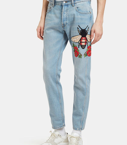 Embroidered Floral Fly Patch Jeans by Gucci