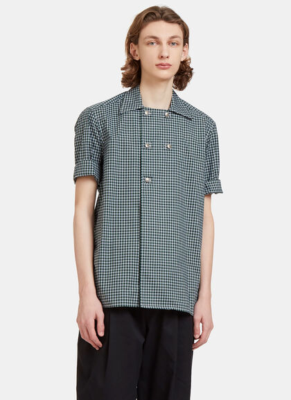 Buy Checked Double-Breasted Poplin Shirt by Aganovich men clothes online