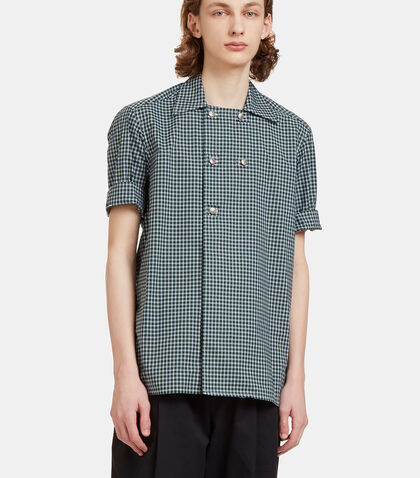 Checked Double-Breasted Poplin Shirt by Aganovich