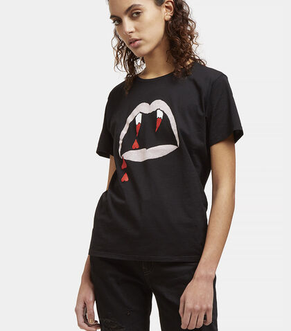 Blood Luster Mouth Print Crew Neck T-Shirt by Saint Laurent