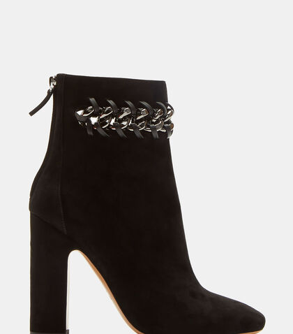 Whip Stitched Chain Suede Ankle Boots by Valentino