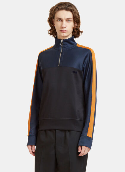 Buy Colour-Blocked Zip-Up Sweater by Ami men clothes online