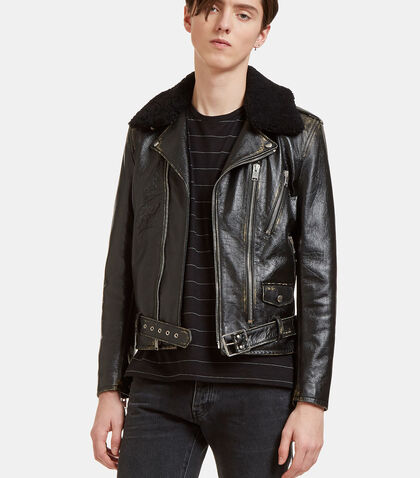 Vintage Look Shearling Collared Biker Jacket by Saint Laurent