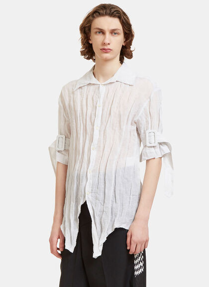 Buy Belted Cuff Creased Shirt by Yang Li men clothes online