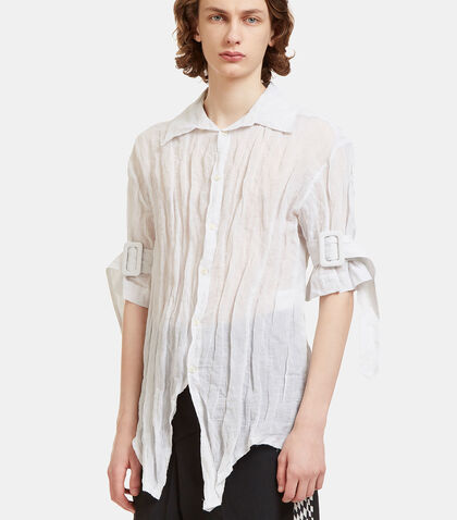 Belted Cuff Creased Shirt by Yang Li