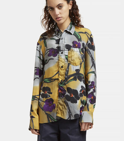 Floral Print Frilled Placket Shirt by Marni