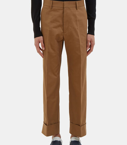Cropped Herringbone Cuff Pants by Gucci